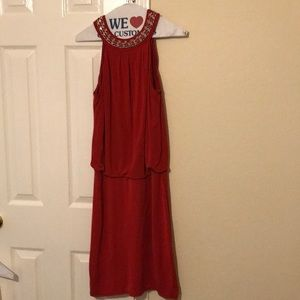 Red dress with silver chain